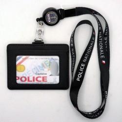 Tour de cou Police Nationale + enrouleur Police RF + porte-carte cuir noir - TOUR-DE-COU TDCEPNCUPRF- TOUR-DE-COU