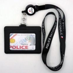Tour de cou Police + enrouleur + porte-carte cuir noir Police Nationale fond blanc TOUR-DE-COU TDCEPNCUPNBTOUR-DE-COU