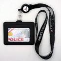 Tour de cou Police + enrouleur + porte-carte cuir noir Police Nationale fond blanc