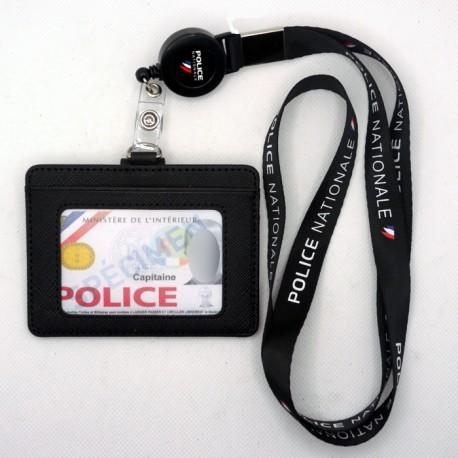 Tour de cou Police + enrouleur + porte-carte cuir noir Police Nationale fond Noir TOUR-DE-COU TDCEPNCUPNNTOUR-DE-COU