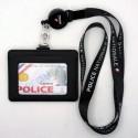 Tour de cou Police + enrouleur + porte-carte cuir noir Police Nationale fond Noir