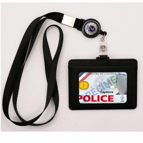 Tour de cou Prefecture de Police + enrouleur + porte-carte cuir noir TOUR-DE-COU TDCECUPPTOUR-DE-COU