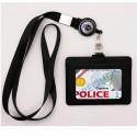 Tour de cou Prefecture de Police + enrouleur + porte-carte cuir noir