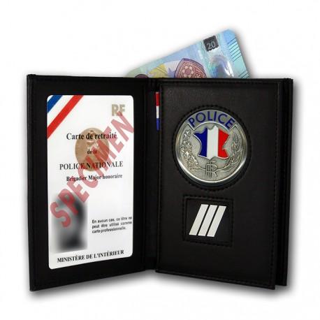Porte-Carte 3 volets Police + Grade retraité Accueil PCAD002PAccueil